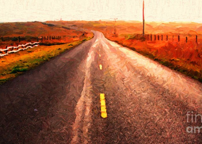 Long Greeting Card featuring the photograph The Long Road Home . Painterly Style . Wide Size by Wingsdomain Art and Photography