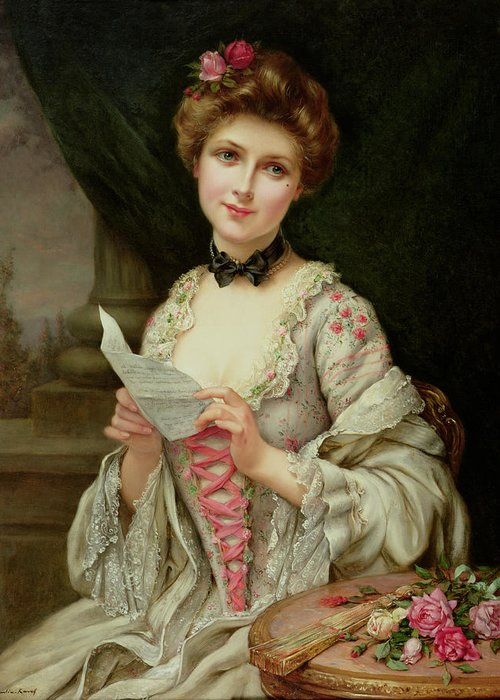 Billet Doux; Female; Seated; Sitting; Roses; Fan; Black Bow; Wistful; Pretty; Costume; Dress; Beauty; Jewellery; Jewelry; In Love; Valentine; Beauty Greeting Card featuring the painting The Love Letter by Francois Martin-Kayel
