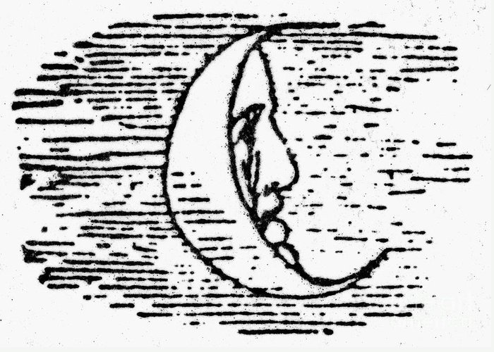 1849 Greeting Card featuring the photograph The Man In The Moon by Granger