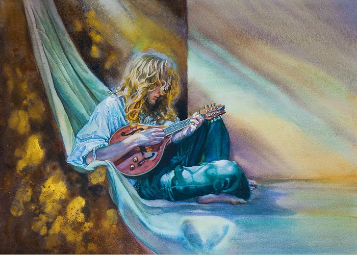 Boy Greeting Card featuring the painting The Mandolin Player by Gilly Marklew
