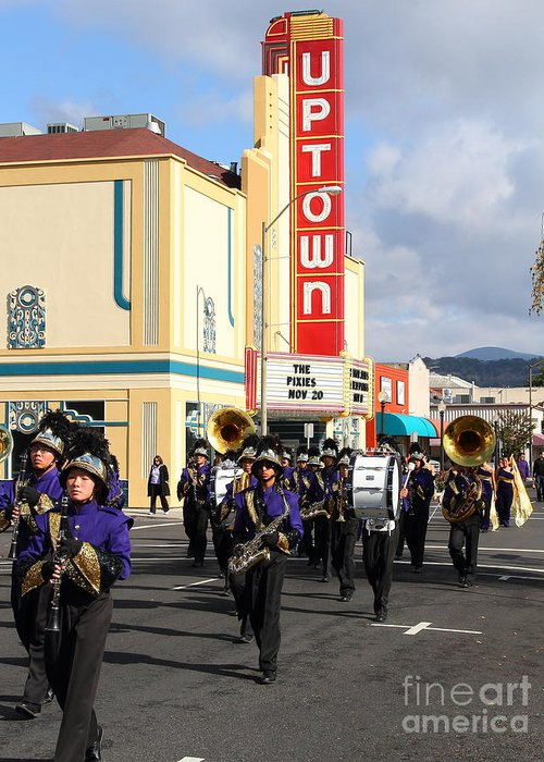 Theater Greeting Card featuring the photograph The Marching Band At The Uptown Theater In Napa California . 7d8925 by Wingsdomain Art and Photography
