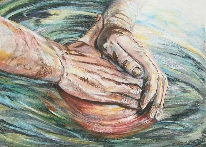 Representational Greeting Card featuring the pastel The Master Potter by Connie Sherman