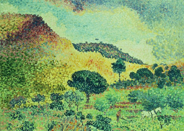 The Maures Mountains Greeting Card featuring the painting The Maures Mountains by Henri-Edmond Cross