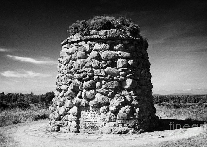 The Greeting Card featuring the photograph the memorial cairn on Culloden moor battlefield site highlands scotland by Joe Fox