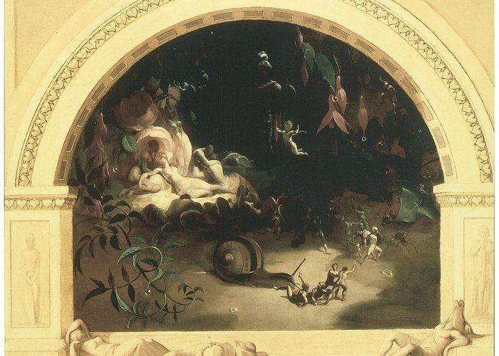 Robert Huskisson Greeting Card featuring the painting The Midsummer Night's Fairies by Robert Huskisson