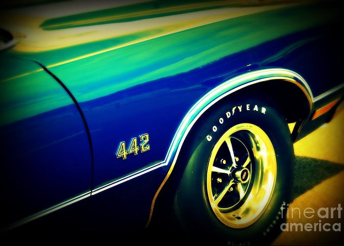 Oldsmobile 442 Greeting Card featuring the photograph The Muscle Car Oldsmobile 442 by Susanne Van Hulst