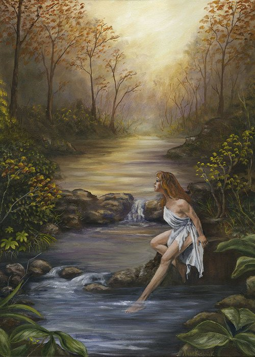 Landscape Greeting Card featuring the painting The Muse by Anne Kushnick