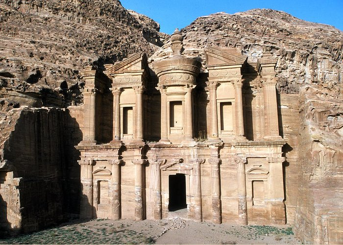 Color Image Greeting Card featuring the photograph The Nabateian Temple Of Al Deir by Martin Gray