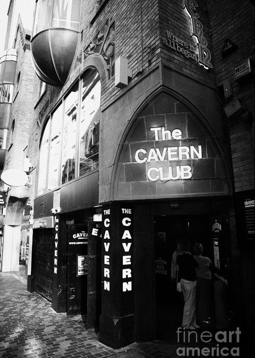 Mathew Greeting Card featuring the photograph The New Cavern Club In Mathew Street In Liverpool City Centre Birthplace Of The Beatles by Joe Fox
