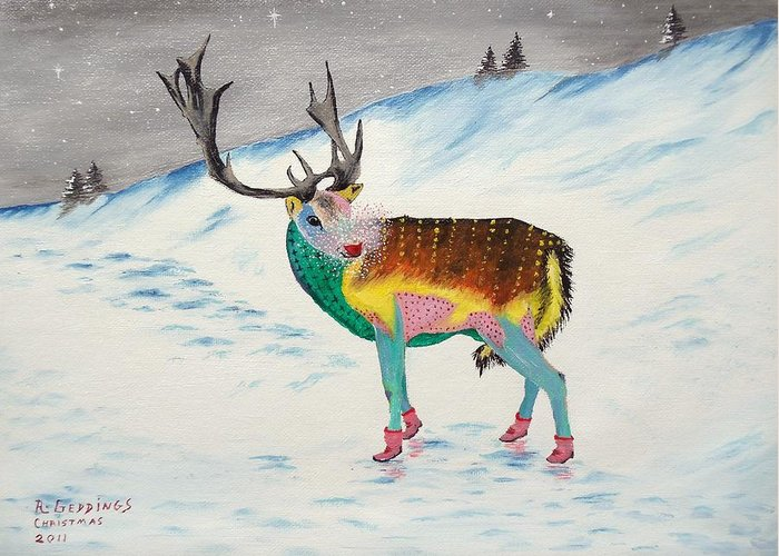 Art Greeting Card featuring the painting The New Rudolph by Riley Geddings