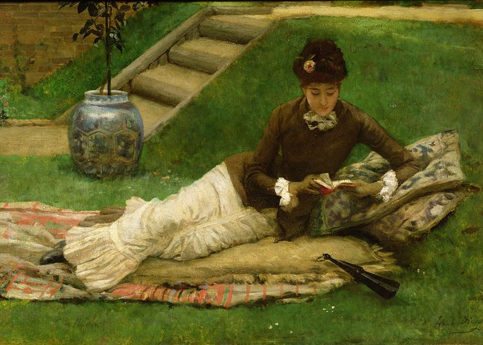 Woman;reclining;victorian;female Greeting Card featuring the painting The Novel by Frank Dicey
