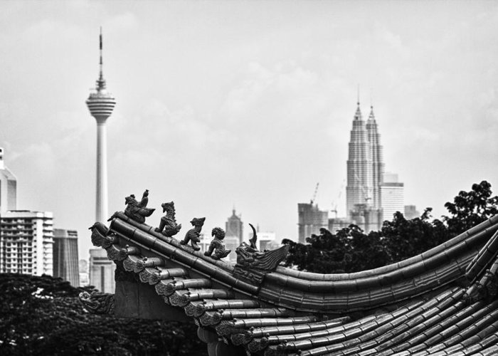 Petronas Towers Greeting Card featuring the photograph The Old And The New by Zoe Ferrie