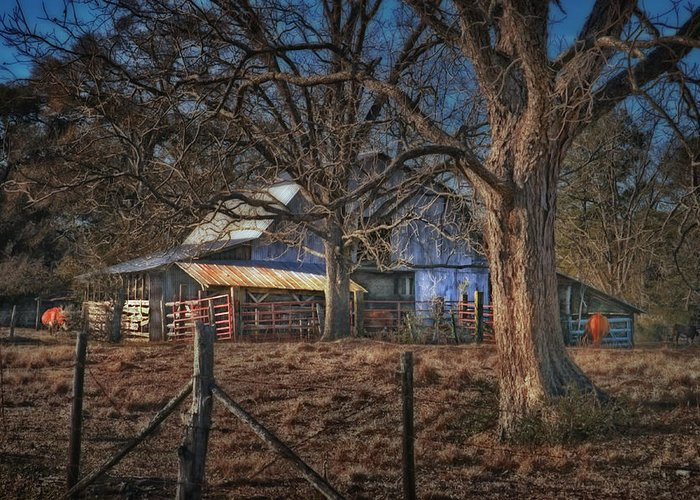 Landscape Greeting Card featuring the photograph The Old Barn by Brenda Bryant