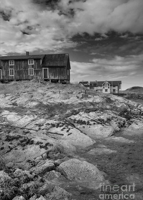 Norway Greeting Card featuring the photograph The Old Fisherman's Hut Bw by Heiko Koehrer-Wagner