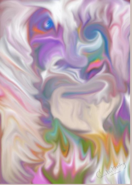 Abstract Greeting Card featuring the digital art The Old Man Abstract by Gina Lee Manley