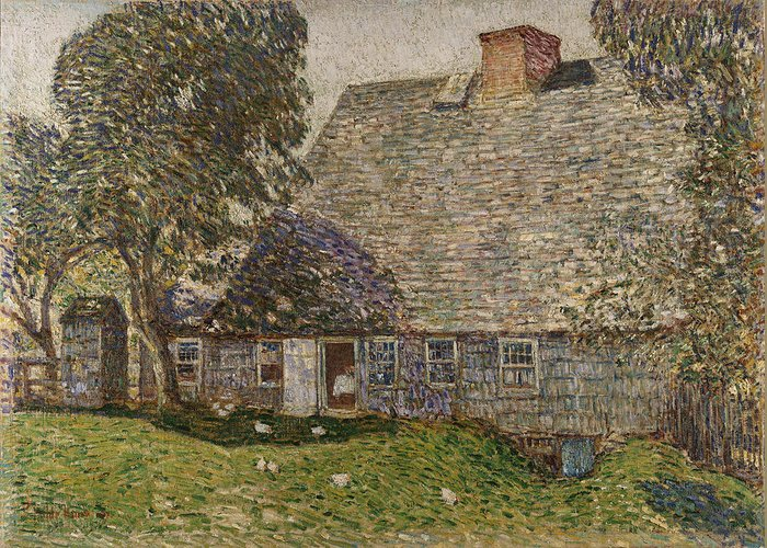 The Old Mulford House Greeting Card featuring the painting The Old Mulford House by Childe Hassam