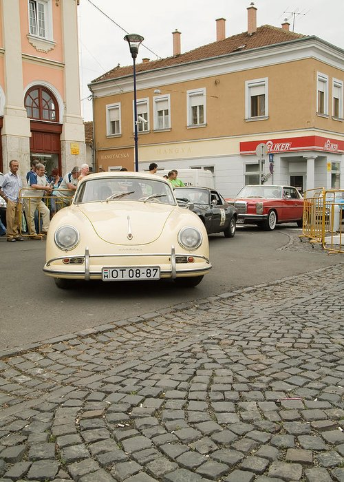 Old Greeting Card featuring the photograph The Old Porshe by Odon Czintos