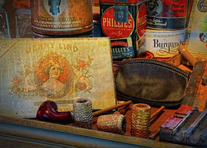 Smoke Shop Greeting Card featuring the photograph The Old Smoke Shop by Dave Mills