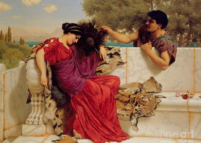 The Old Greeting Card featuring the painting The Old Story by John William Godward