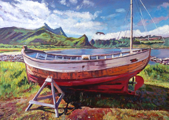 Landscape Greeting Card featuring the painting The Old Timer by David Lloyd Glover