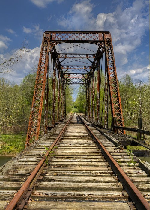 American Greeting Card featuring the photograph The Old Trestle by Debra and Dave Vanderlaan