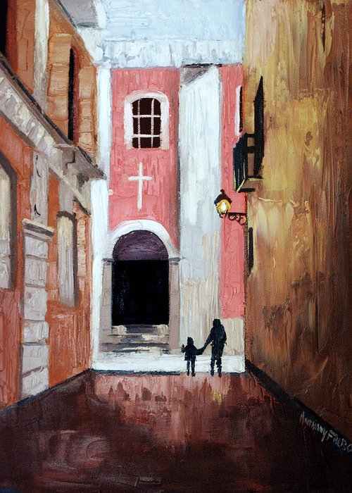The Open Door Greeting Card featuring the painting The Open Door by Anthony Falbo
