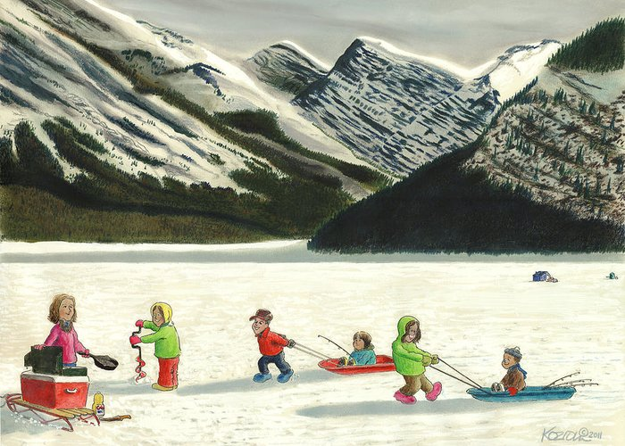 Hunting Greeting Card featuring the pastel The Optimists by Tim Koziol