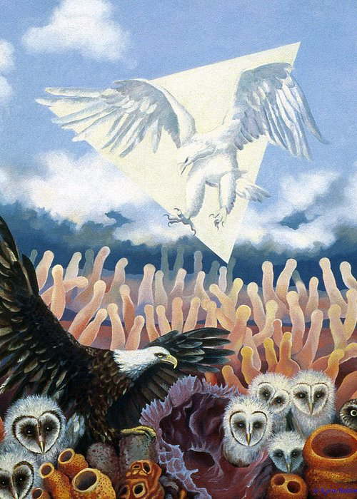 Two Eagles Greeting Card featuring the painting The Other by Kyra Belan