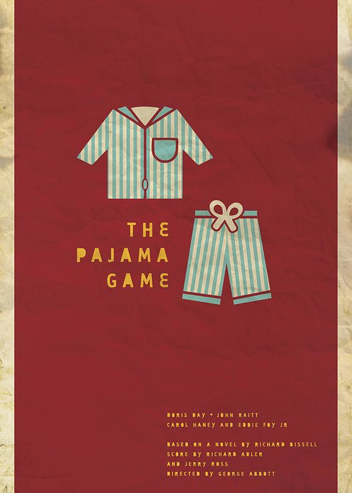 Doris Day Greeting Card featuring the digital art The Pajama Game by Megan Romo