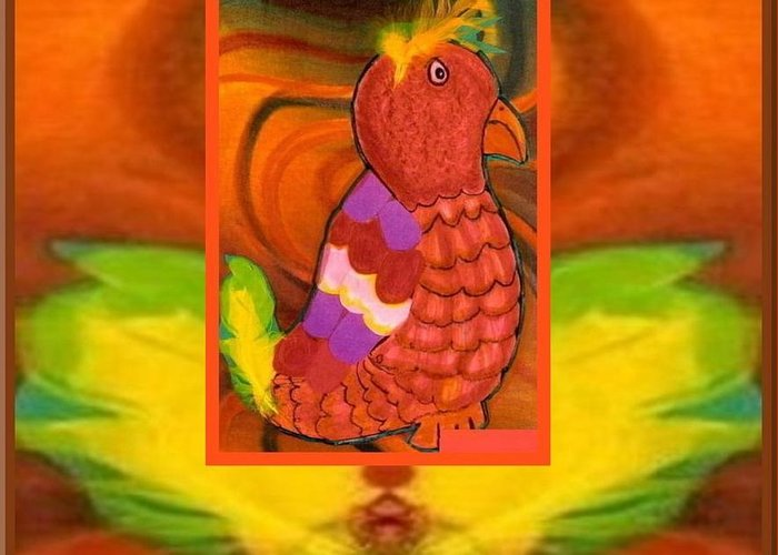 Parrot Greeting Card featuring the mixed media The Parrot From Conneaut Lake Park by Ray Tapajna
