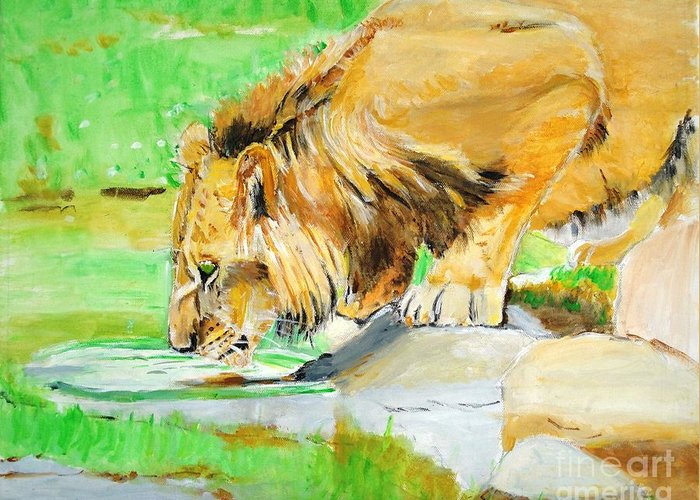 Lion Greeting Card featuring the painting The Paws That Refreshes by Judy Kay