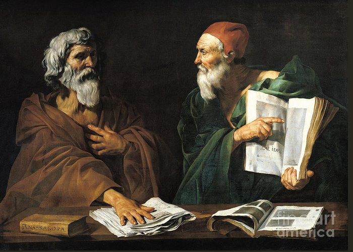 Philosophy Greeting Card featuring the painting The Philosophers by Master of the Judgment of Solomon