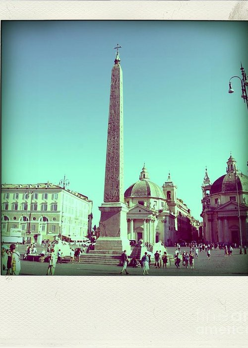 Church Cityscape Obelisk Piazza Del Popolo Steet Taxi Town Square Tourists Tourist Tourism The Squares Square Rome Popolo Piazza Persons Person People Outdoor Obelisks Italy Humans Human Exteriors Exterior Europe During Del Daytime Daylight Day Buildings Building Beings Being Architecture Piazza Del Popolo Greeting Card featuring the photograph The Piazza Del Popolo. Rome by Bernard Jaubert