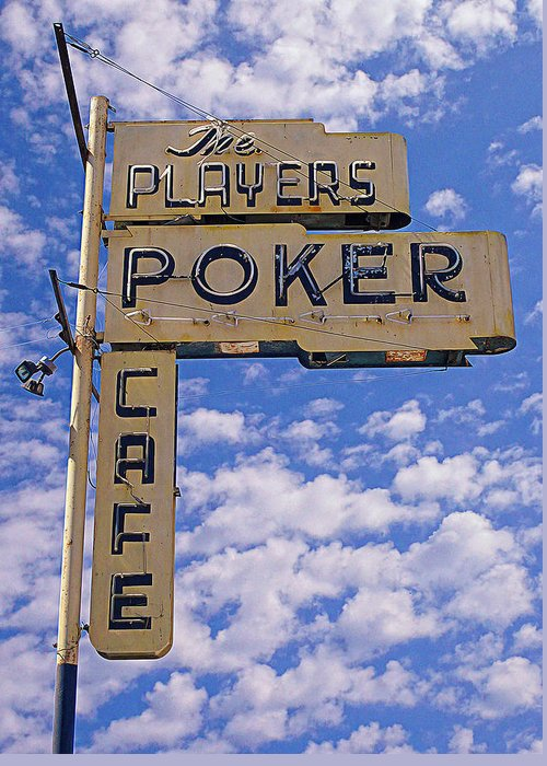 Players Poker Greeting Card featuring the photograph The Players Poker Cafe by Ron Regalado