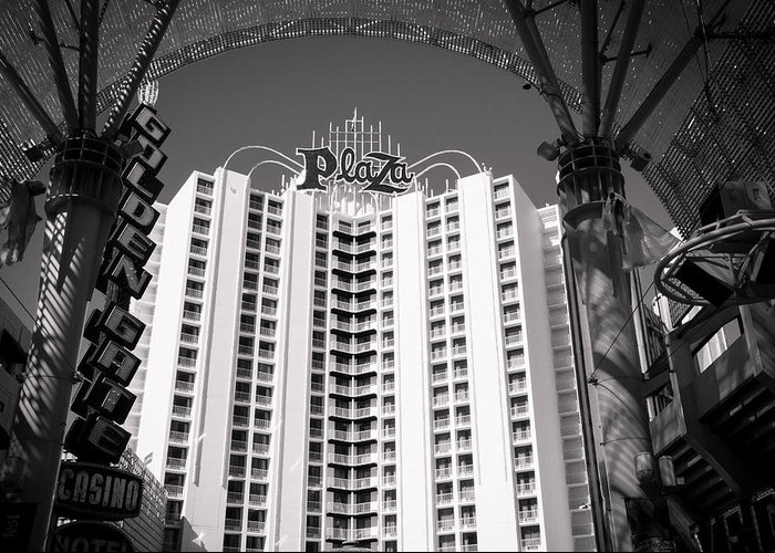 Las Vagas Greeting Card featuring the digital art The Plaza Las Vegas by Susan Stone