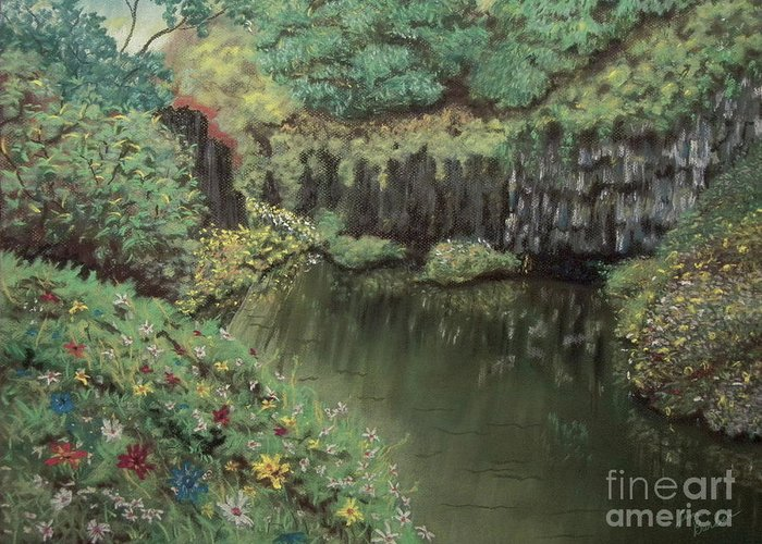Impressionistic Greeting Card featuring the painting The Pond by Jim Barber Hove