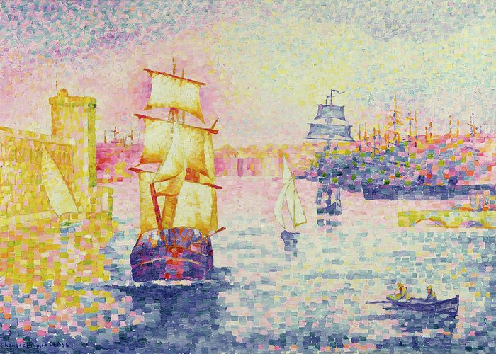 The Port Of Marseilles Greeting Card featuring the painting The Port Of Marseilles by Henri-Edmond Cross