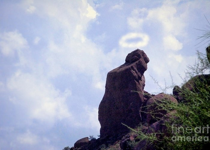 'praying Monk' Greeting Card featuring the photograph The Praying Monk With Halo - Camelback Mountain - Painted by James BO Insogna