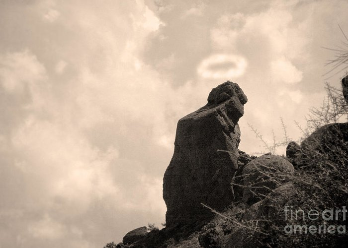 'praying Monk' Greeting Card featuring the photograph The Praying Monk With Halo - Camelback Mountain by James BO Insogna