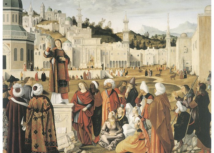 Vittore Carpaccio Greeting Card featuring the painting The Preaching Of Saint Stephen In Jerusalem by Vittore Carpaccio