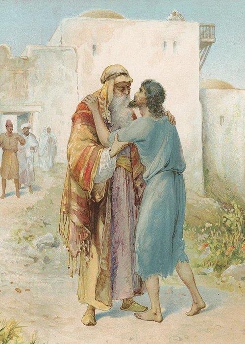 Bible Stories; Biblical; The Prodigal's Return; Return Of The Prodigal Son; Parable; Jesus Christ Greeting Card featuring the painting The Prodigal's Return by Ambrose Dudley