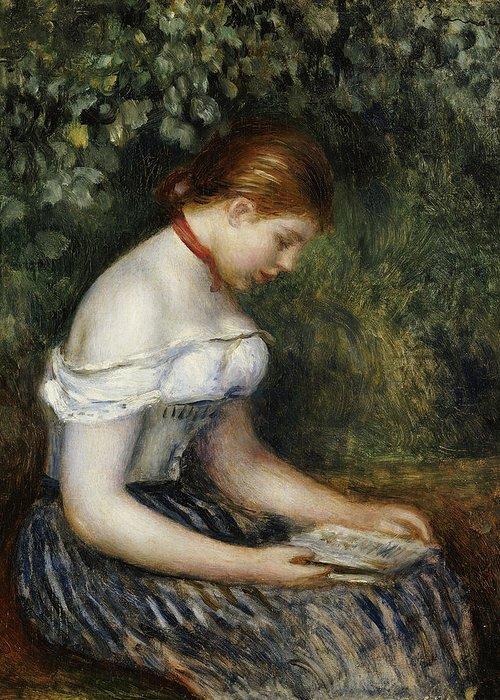 Impressionist; Impressionism; Female; Portrait; Book; Reading; Brown Hair Greeting Card featuring the painting The Reader A Seated Young Girl by Pierre Auguste Renoir