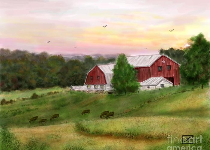 Red Barn Greeting Card featuring the painting The Red Barn at Sunset by Judy Filarecki