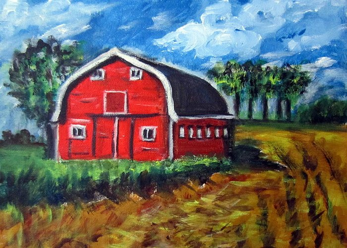 Wheatfields Greeting Card featuring the painting The Red Barn by Lia Marsman