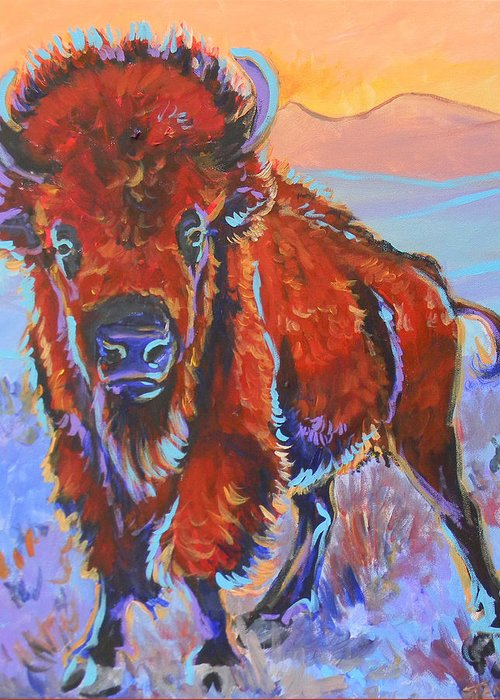 Bison Greeting Card featuring the painting The Red King by Jenn Cunningham