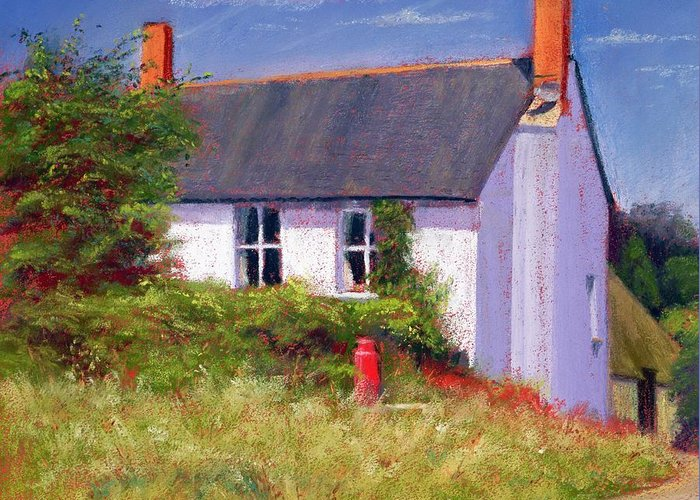 House; Rural; Countryside; Garden; Exterior; Lait; Country Cottage; Summer; Tree; Trees; Milk Churn; Red; Grass; Grassy; Bush; Bushes; Cottage; Windows; Chimney; Chimneys; Cloud; Clouds Greeting Card featuring the painting The Red Milk Churn by Anthony Rule