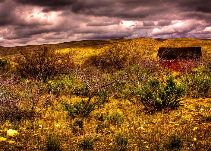 Red Rock Greeting Card featuring the photograph The Red Shed At Red Rock Canyon by David Patterson
