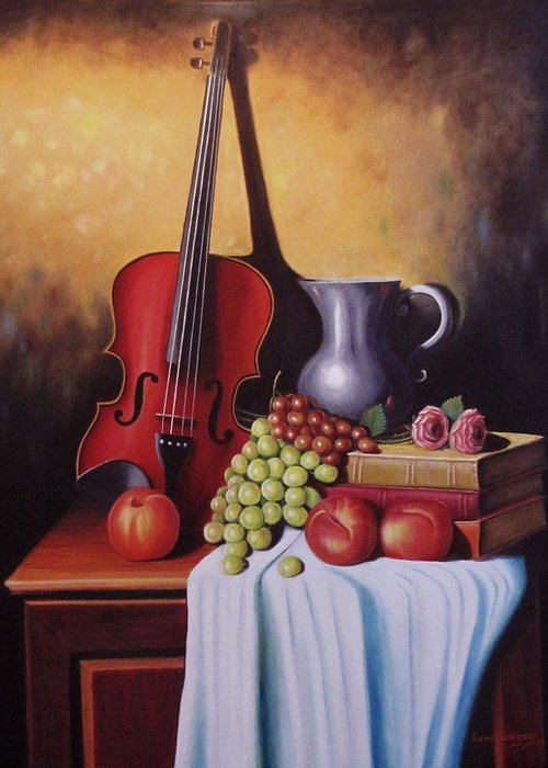 Still Life Greeting Card featuring the painting The Red Violin by Gene Gregory