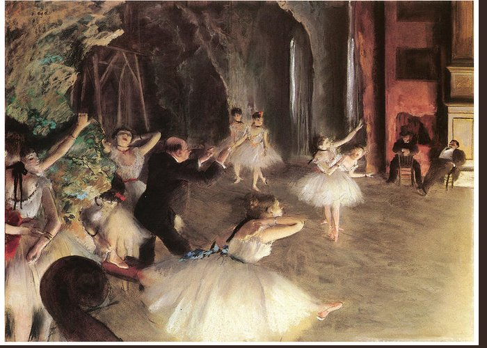The Rehearsal On The Stage Greeting Card featuring the painting The Rehearsal On The Stage by Edgar Degas