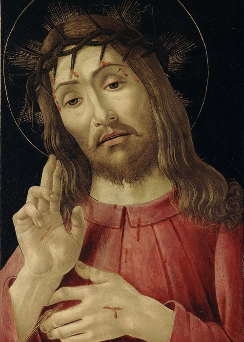 The Greeting Card featuring the painting The Resurrected Christ by Sandro Botticelli